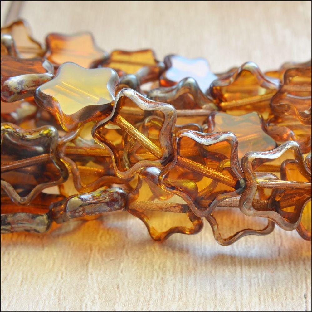 12mm Czech Glass Table Cut Star Beads  Brown Mix