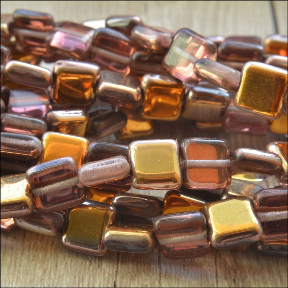 8mm Czech Glass Flat Square Beads - Purple & Gold Light