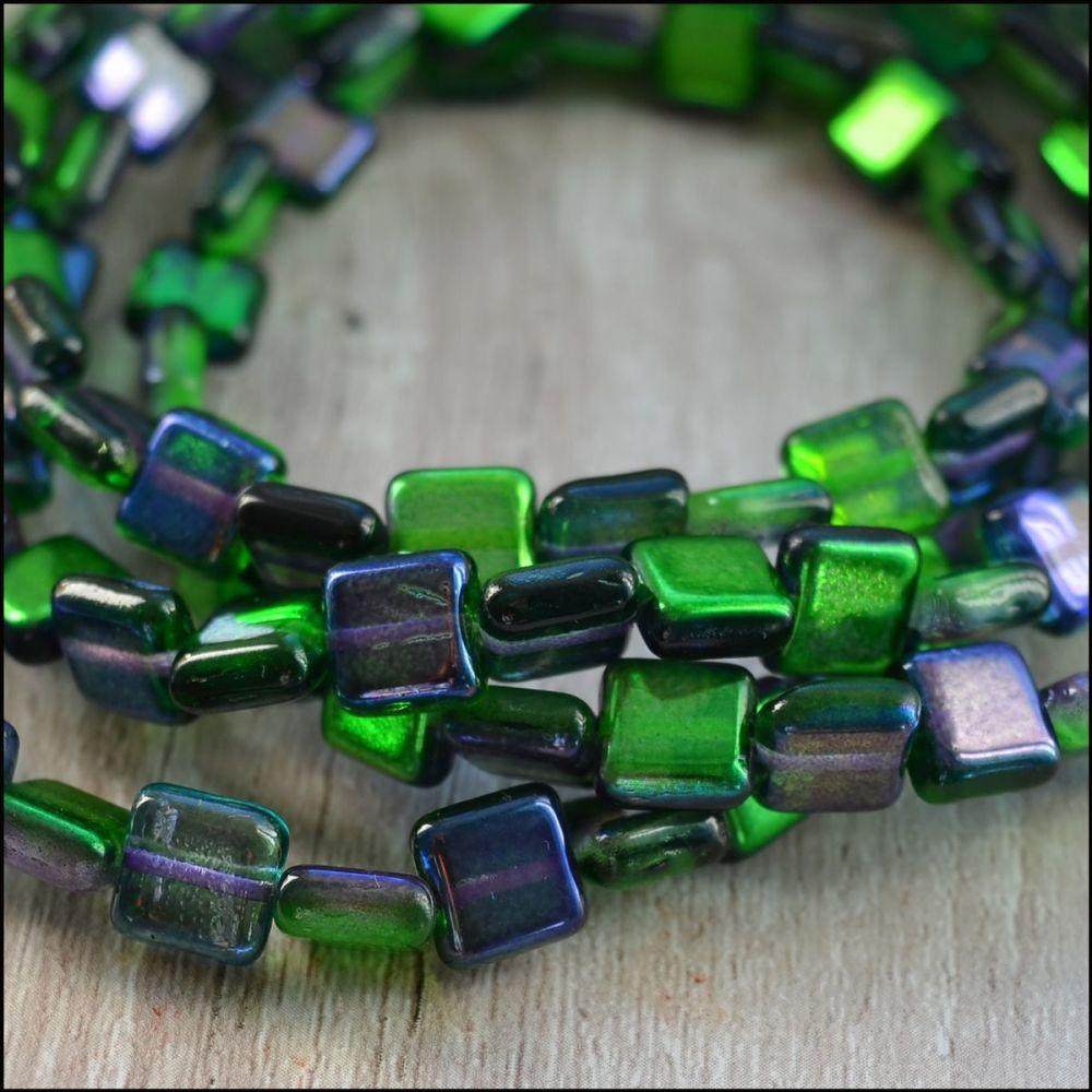 8mm Czech Glass Flat Square Beads - Purple & Green