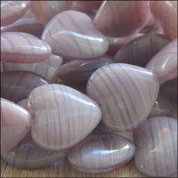 Purple Striped Czech Glass Pressed Heart Beads 15mm