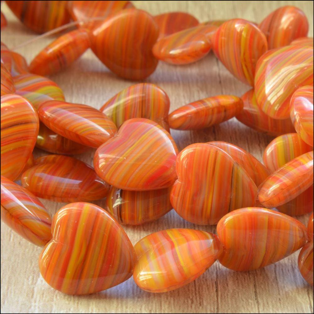 Orange Striped Czech Glass Pressed Heart Beads 15mm