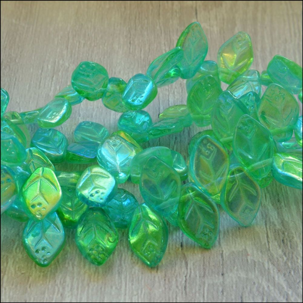 12mm Czech Glass Pressed Leaf Beads Turquoise & Green Mix