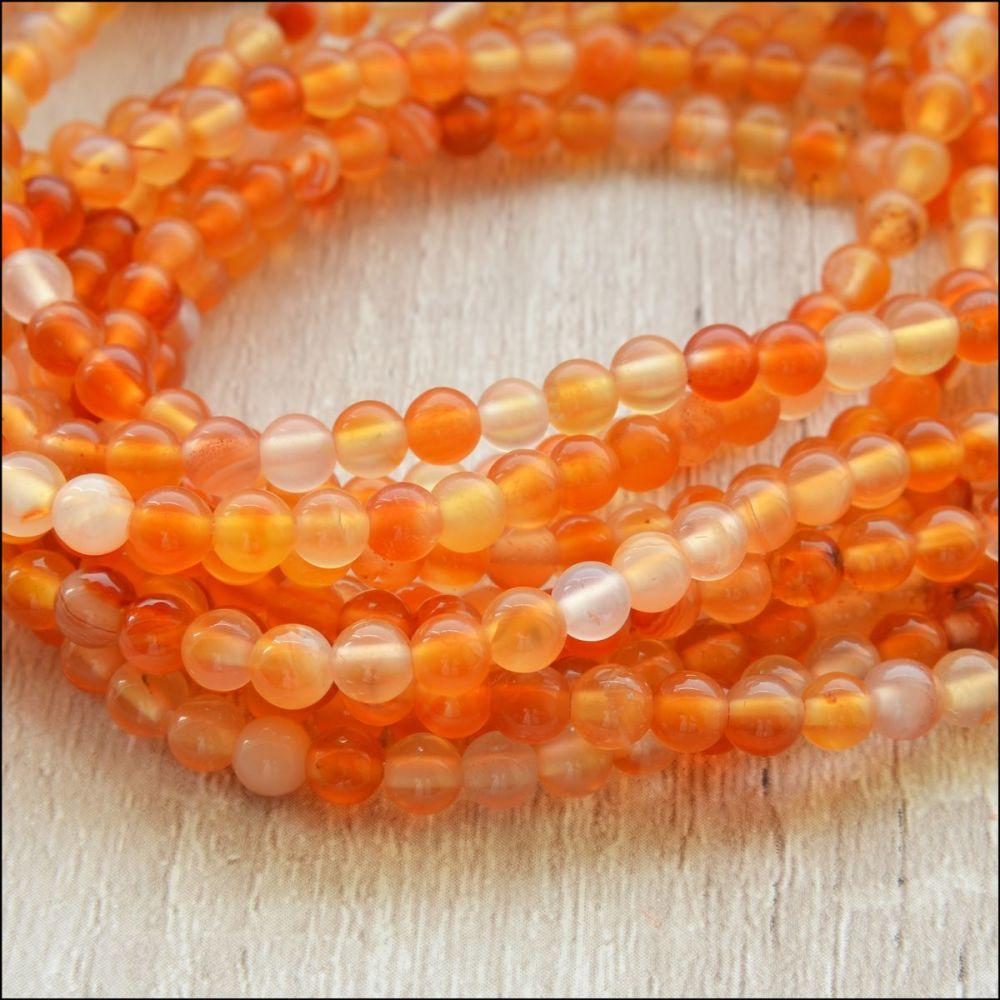 Carnelian 6mm Plain Round Gemstone Beads