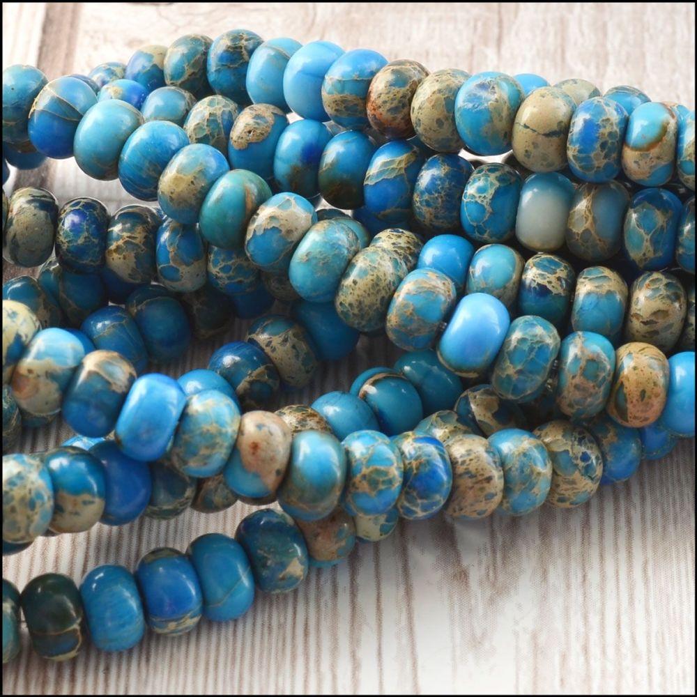 Blue Sea Sediment Jasper 6x4mm Rondelle Semi Precious Beads