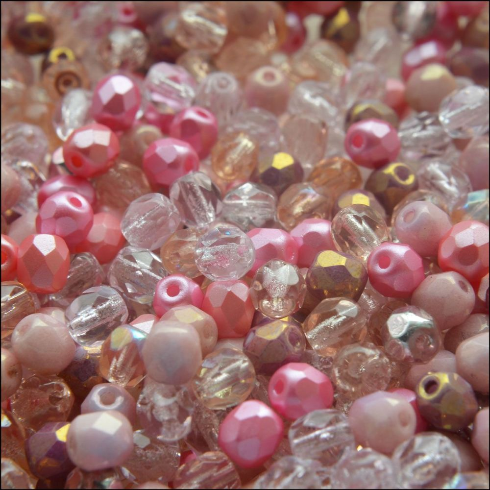 Czech Glass Faceted Fire Polished Beads 4mm Mixed Pinks