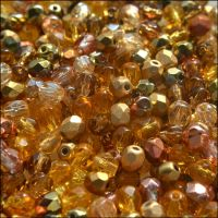 Czech Glass Faceted Fire Polished Beads 4mm Mixed Gold