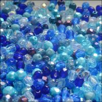 Czech Glass Faceted Fire Polished Beads 4mm Mixed Blues