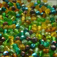 Czech Glass Faceted Fire Polished Beads 4mm Earth Tones