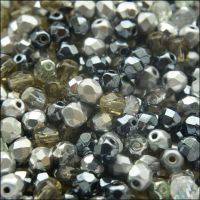 Czech Glass Faceted Fire Polished Beads 4mm Mixed Silvers