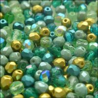 Czech Glass Faceted Fire Polished Beads 4mm Mixed Greens