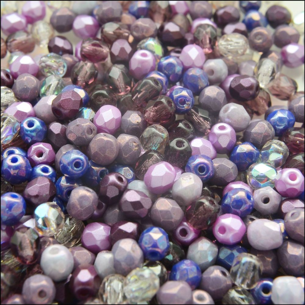 Czech Glass Faceted Fire Polished Beads 6mm Purple Mix