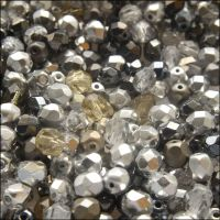 Czech Glass Faceted Fire Polished Beads 6mm Silver Mix