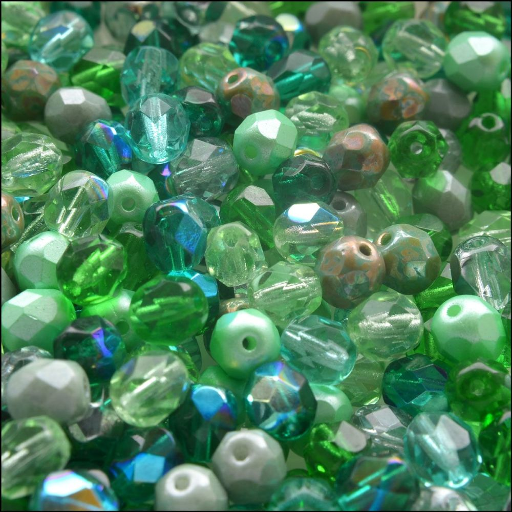 Czech Glass Faceted Fire Polished Beads 6mm Mixed Greens