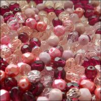 Czech Glass Faceted Fire Polished Beads 6mm Mixed Pinks
