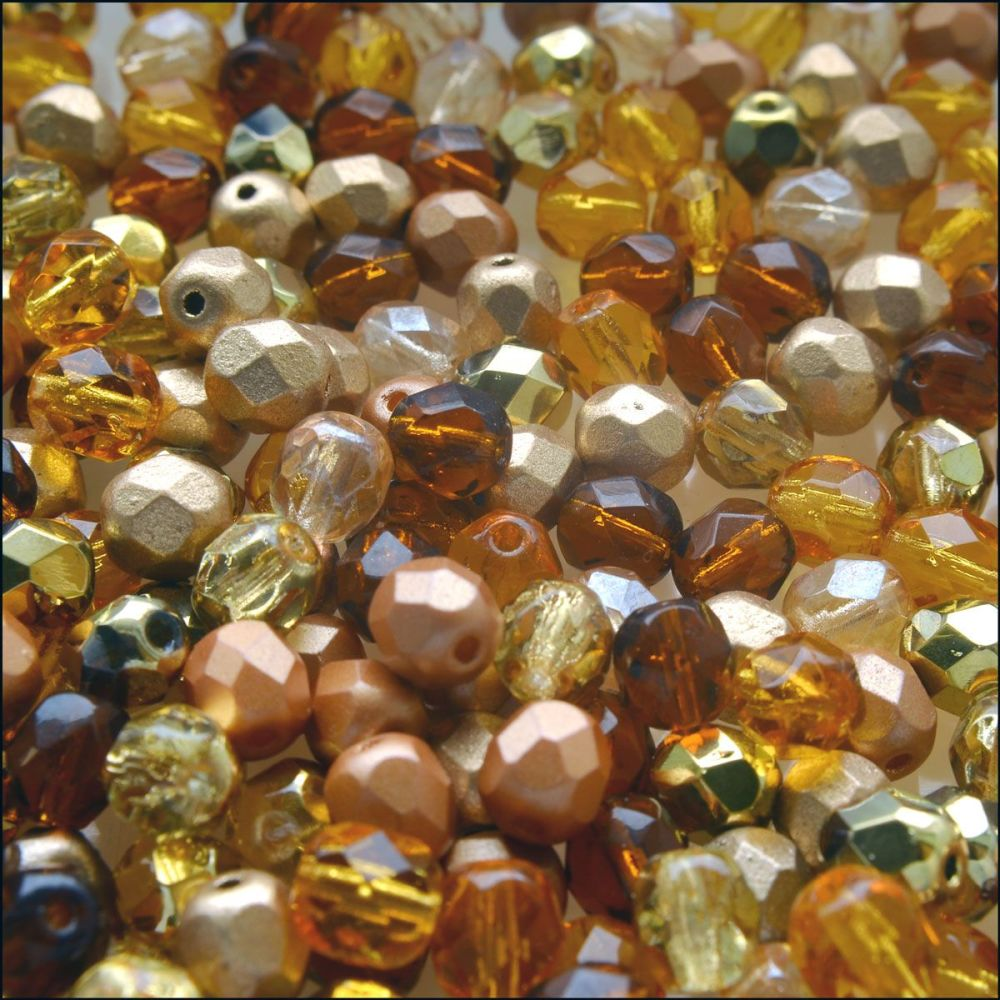 Czech Glass Faceted Fire Polished Beads 6mm Mixed Gold