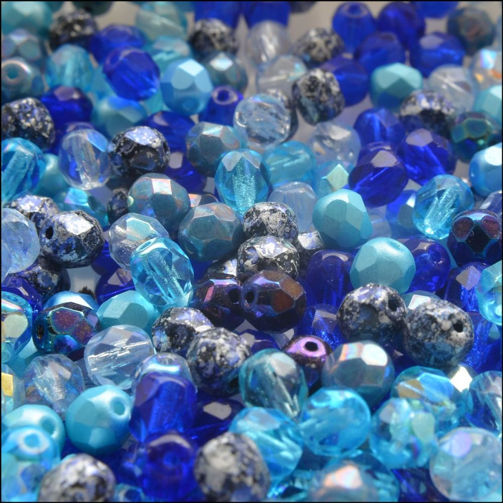 Czech Glass Faceted Fire Polished Beads 6mm Mixed Blues