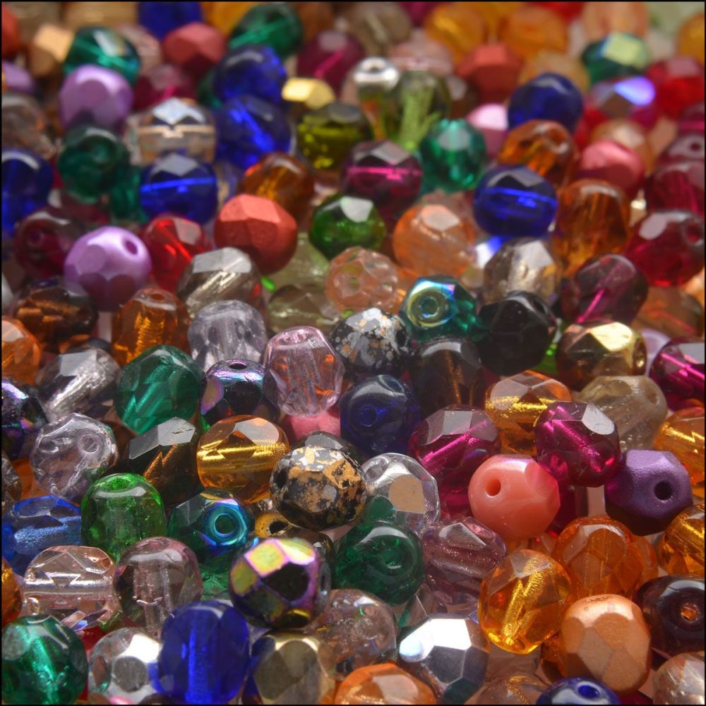 Czech Glass Faceted Fire Polished Beads 6mm Multi Mix