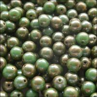 6mm Czech Round Pressed Glass Beads - Opaque Turquoise Green Picasso