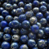 6mm Czech Round Pressed Glass Beads - Opaque Blue Picasso