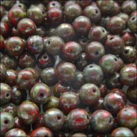6mm Czech Round Pressed Glass Beads - Opaque Coral Red Picasso