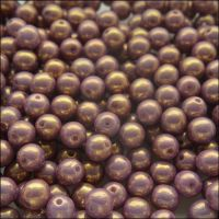 6mm Czech Round Pressed Glass Beads - Chalk Violet  Lustre