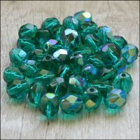 Czech Glass Faceted Fire Polished Beads 6mm Emerald AB