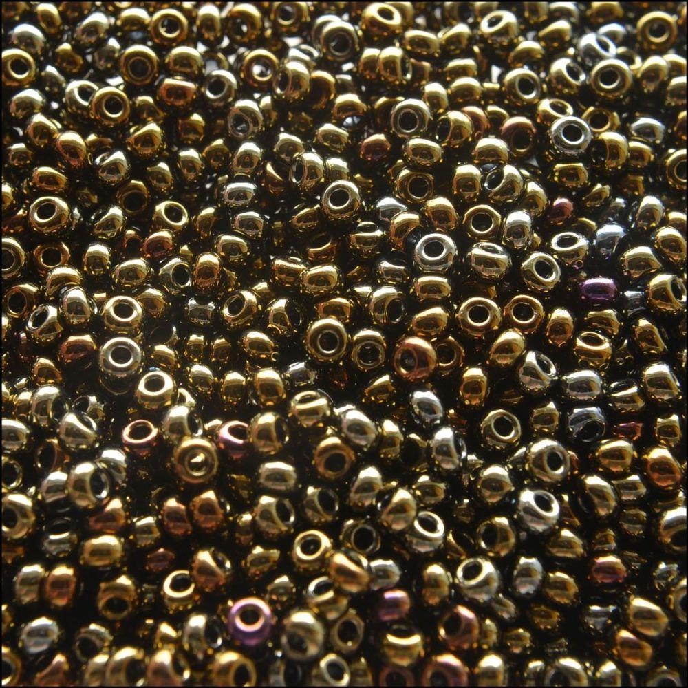 Preciosa  Czech Glass 8/0 Seed Beads - Metallic Brown Iris - 20g