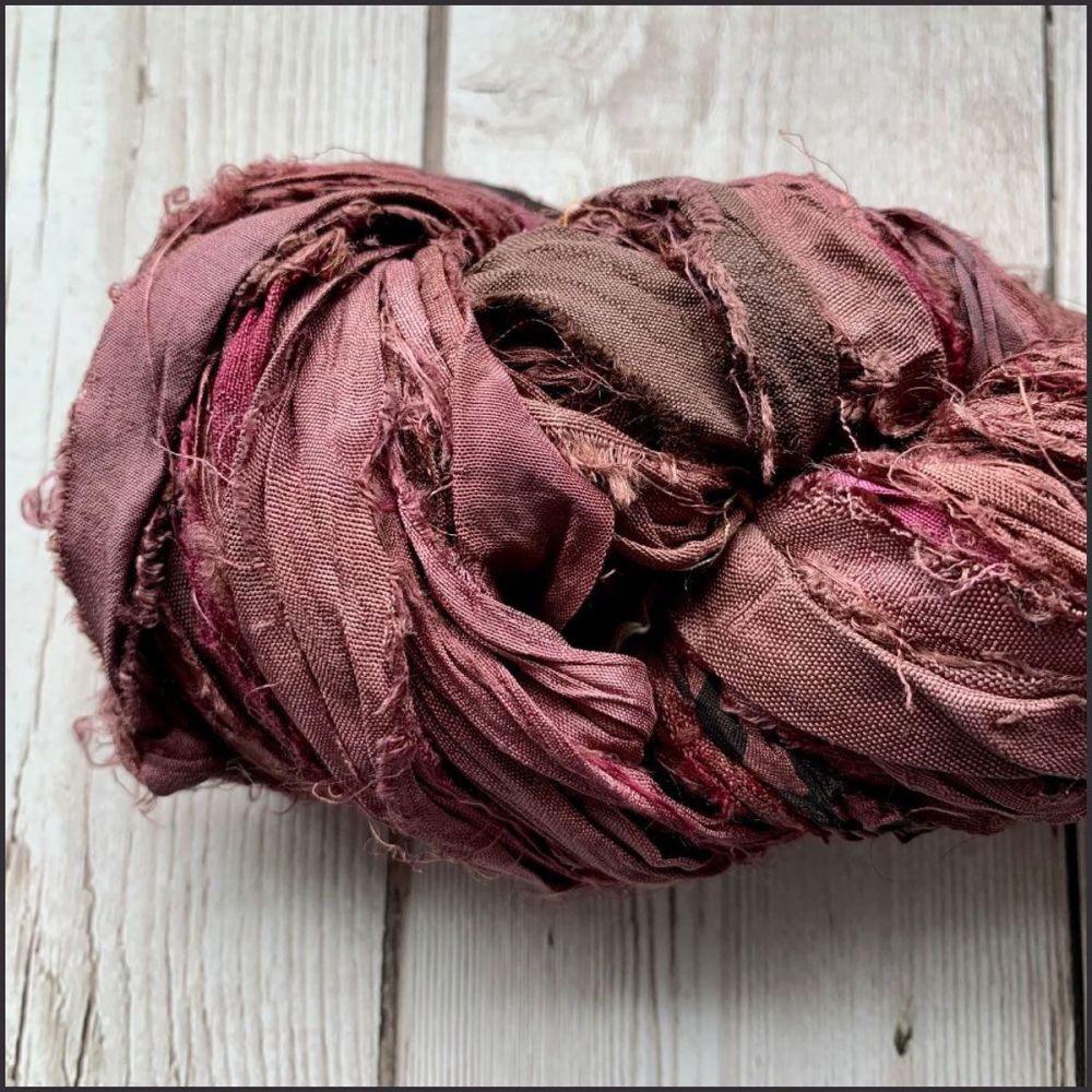 Plum Sari Silk Ribbon