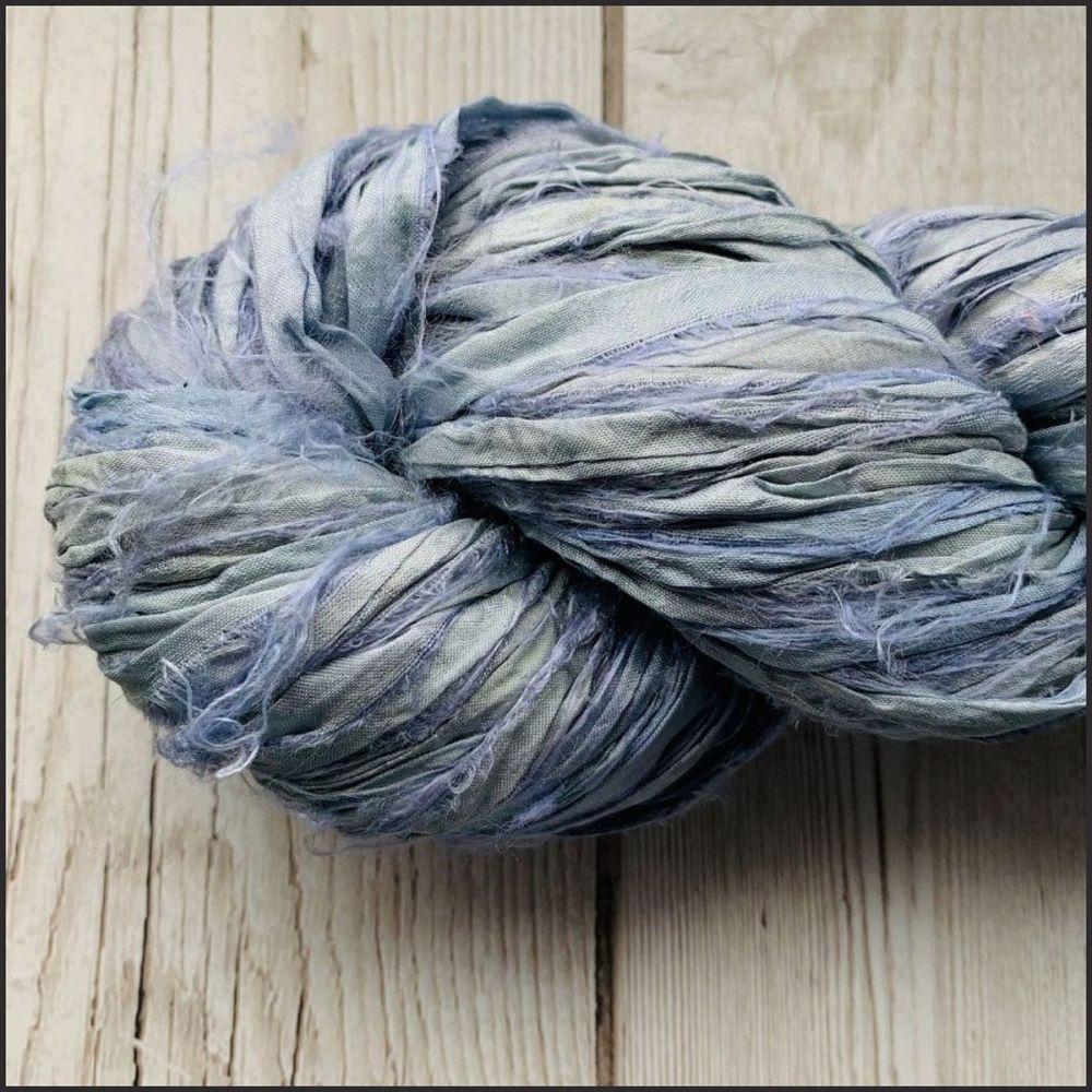 Ice Blue Sari Silk Ribbon