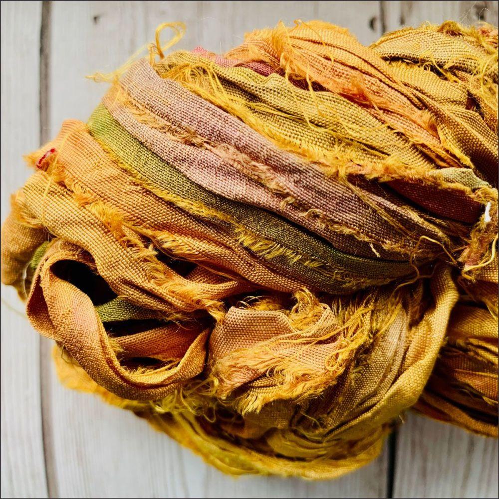 Mustard Sari Silk Ribbon