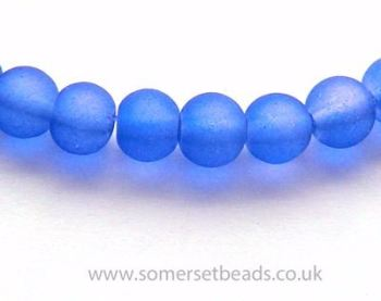 6mm Blue Frosted Glass Beads