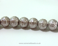 8mm Mink Textured/Blister Glass Pearl Round Beads