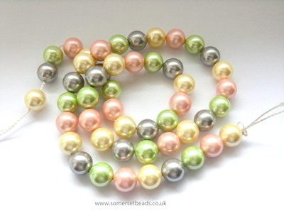 Pastel Coloured Shell Pearl Round Beads 8mm