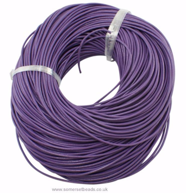 1mm Round Leather Cord - Purple