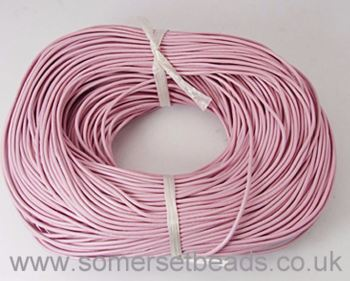 1mm Round Leather Cord - Pink