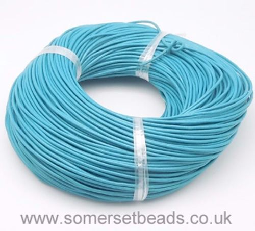 1mm Round Leather Cord - Sky Blue