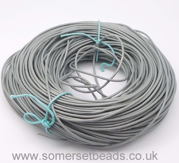 1mm Round Leather Cord - Grey