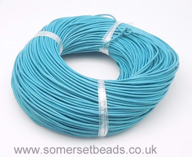 1mm Round Leather Cord - Cyan