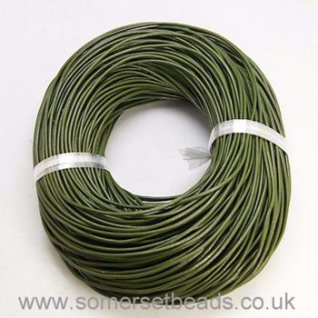 2mm Round Leather Cord - Olive