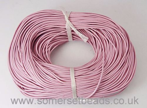 2mm Round Leather Cord - Pink