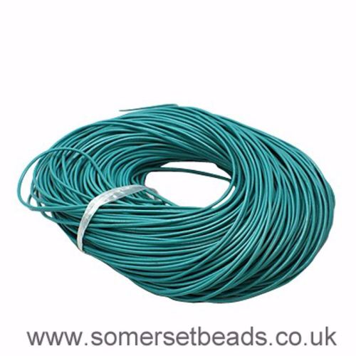 2mm Round Leather Cord - Turquoise