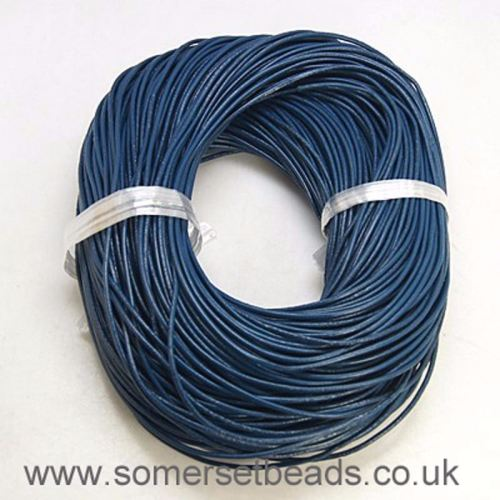 2mm Round Leather Cord- Marine Blue