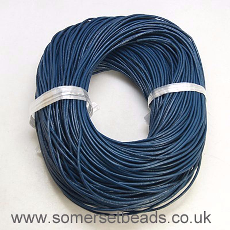 2mm Round Leather Cord- Marine Blue