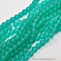 <!-- 149 -->6mm Sea Green Frosted Glass Round Beads