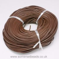 1mm Round Leather Cord - Saddle Brown