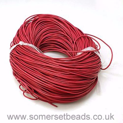 2mm Round Leather Cord - Deep Pink