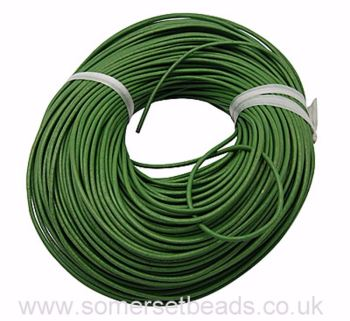 2mm Round Leather Cord - Green