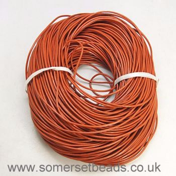 1mm Round Leather Cord - Rust