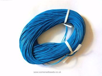 1mm Round Leather Cord - Bright Blue