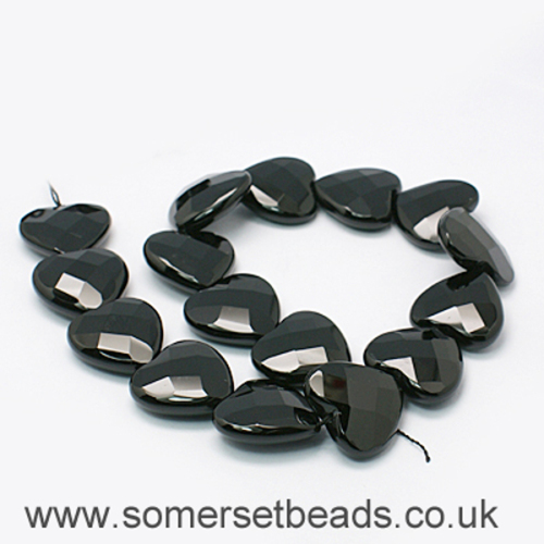 30mm faceted Dyed Black Agate Heart Shaped Beads